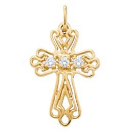 Yellow gold Birthstone Cross Necklace Style 103 with 3 Stones