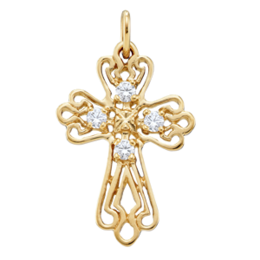 Yellow gold Birthstone Cross Necklace Style 103 with 4 Stones