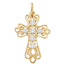 Yellow gold Birthstone Cross Necklace Style 103 with 6 Stones