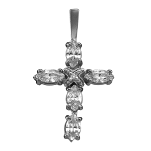 White gold Birthstone Cross Necklace Style 104 with 3 Stones