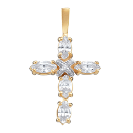 Yellow gold Birthstone Cross Necklace Style 104 with 5 Stones