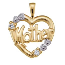 Yellow gold Mothers Pendant Style 81 with 2 Stones