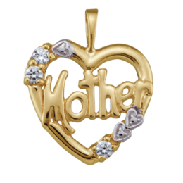 Yellow gold Mothers Pendant Style 81 with 3 Stones