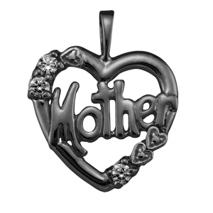 White gold Mothers Pendant Style 81 with 3 Stones
