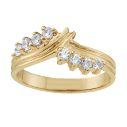 Yellow gold Mothers Ring Style 1 Birthstone Ring with 8 Stones