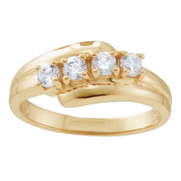 Yellow gold Mothers Ring Style 36 Birthstone Ring with 4 Stones