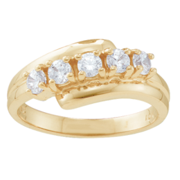 Yellow gold Mothers Ring Style 36 with 5 Stones