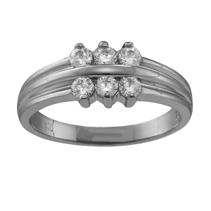 White gold Mothers Ring Style 45 with 6 Stones
