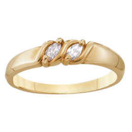 Yellow gold Mothers Ring Style 74 with 2 Stones