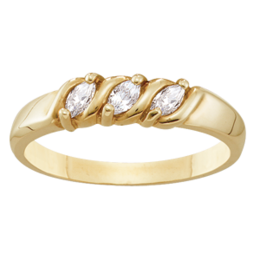 Yellow gold Mothers Ring Style 74 with 3 Stones