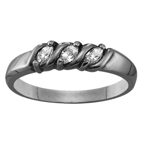 White gold Mothers Ring Style 74 with 3 Stones