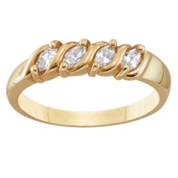 Yellow gold Mothers Ring Style 74 with 4 Stones