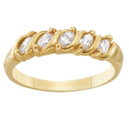 Yellow gold Mothers Ring Style 74 with 5 Stones