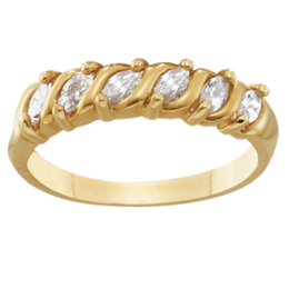 Yellow gold Mothers Ring Style 74 Birthstone Ring with 6 Stones