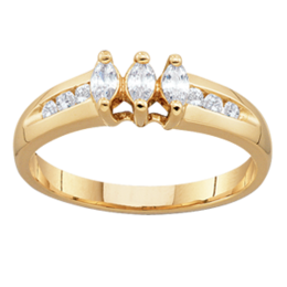 Yellow gold Mothers Ring Style 95 with 3 Stones