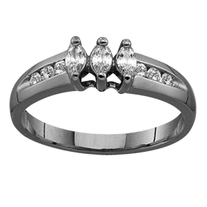 White gold Mothers Ring Style 95 with 3 Stones