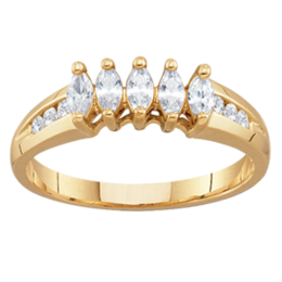 Yellow gold Mothers Ring Style 95 with 5 Stones
