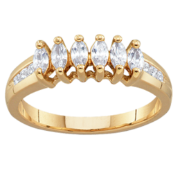 Yellow gold Mothers Ring Style 95 with 6 Stones