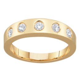 Yellow gold Mothers Ring Style 96 Birthstone Ring with 5 Stones