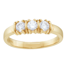 Yellow gold Mothers Ring Style 109 with 3 Stones