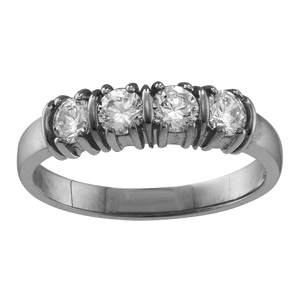 White gold Mothers Ring Style 109 with 4 Stones