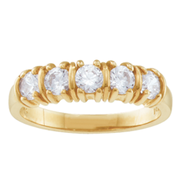 Yellow gold Mothers Ring Style 109 with 5 Stones