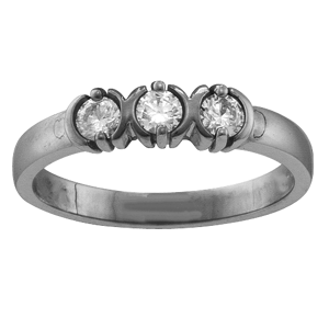 White gold Mothers Ring Style 110 with 3 Stones