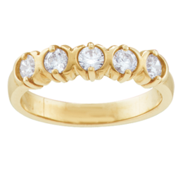 Yellow gold Mothers Ring Birthstone Ring Style 110 with 5 Stones
