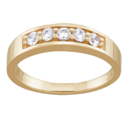 Yellow gold Mothers Ring Style 111 with 5 Stones