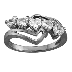 White gold Mothers Ring Style 116 with 5 Stones