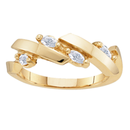 Yellow gold Mothers Ring Style 137 with 4 Stones