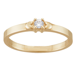 Yellow gold Mothers Ring Style 142 Birthstone Ring with 1 Stone