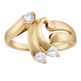 Yellow gold Mothers Ring Style 146 with 3 Stones
