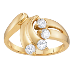 Yellow gold Mothers Ring Style 146 Birthstone Ring with 4 Stones