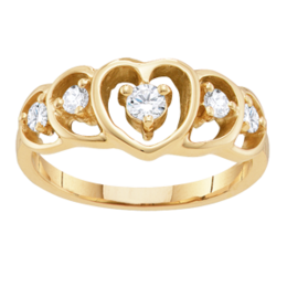 Yellow gold Mothers Ring Style 301 Heart Birthstone Ring with 4 Stones