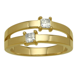 Yellow gold Mothers Ring Style 127 with 2 Stones