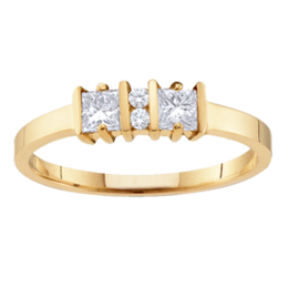 Yellow gold Mothers Ring Style 67 with 2 Stones