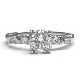Round Diamond Fancy Ring in Platinum image 2