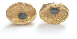 18K Men's Cats Eye Cuff Links image 2
