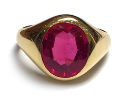 10K Synthetic Red Stone Ring image 2
