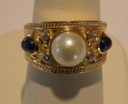14K Pearl and Sapphire Ring image 2