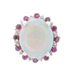 Antique Opal and Ruby Ring image 2