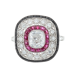 Antique Estate Platinum, Ruby and Onyx Ring image 2