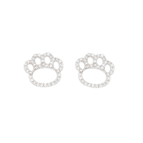 454c88ee1 Diamond Paw Print Earrings QPS-50222/ER/SS/22
