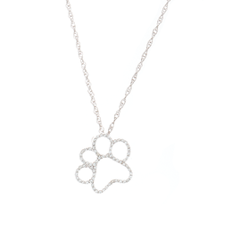 14K White Gold Diamond Paw Pendant image 2