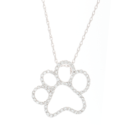 14K White Gold Paw Diamond Pendant image 2