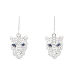Sapphire Dangle Lion Head Earrings image 2