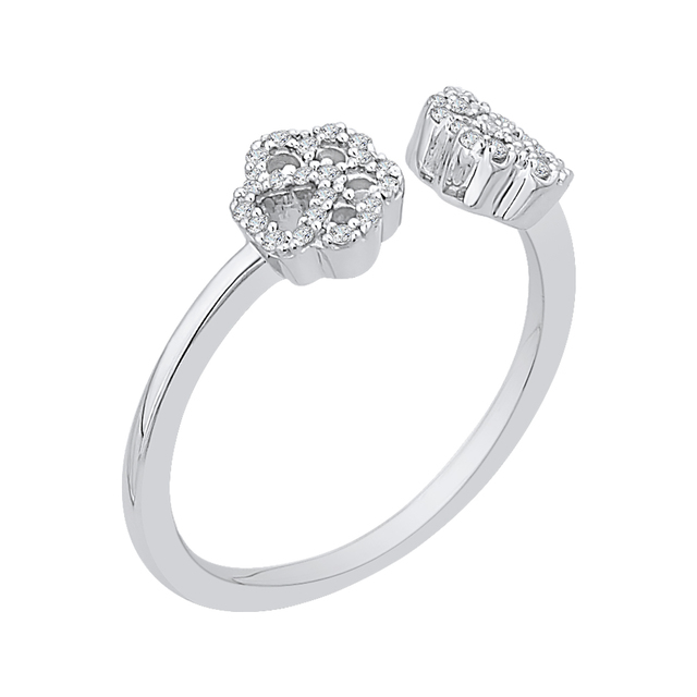 Paw Diamond Ring, Sterling Silver image 2