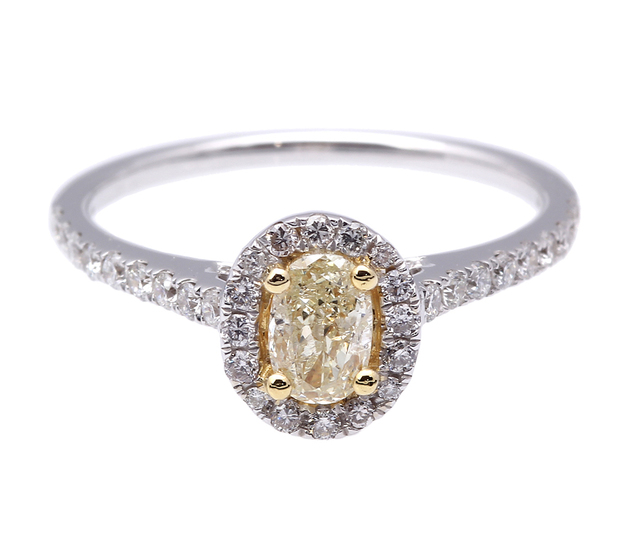 Natural Yellow Diamond Ring in 18K Gold image 2