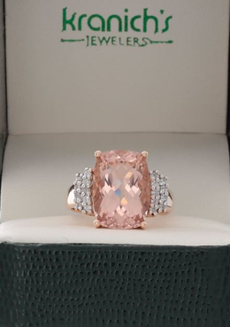 14K Morganite Diamond Ring By Effy image 2
